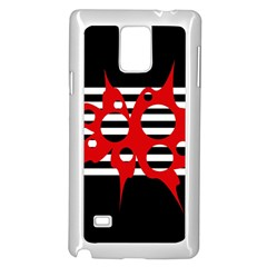 Red, Black And White Abstract Design Samsung Galaxy Note 4 Case (white) by Valentinaart
