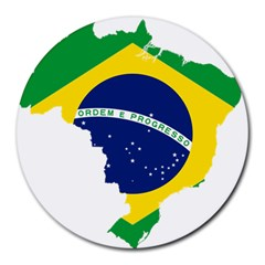 Flag Map Of Brazil  Round Mousepads