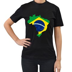 Flag Map Of Brazil  Women s T-shirt (black) (two Sided)