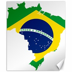 Flag Map Of Brazil  Canvas 8  X 10