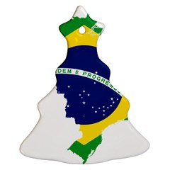 Flag Map Of Brazil  Christmas Tree Ornament (2 Sides)