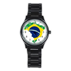 Flag Map Of Brazil  Stainless Steel Round Watch