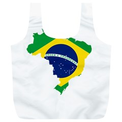 Flag Map Of Brazil  Full Print Recycle Bags (l)