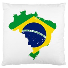Flag Map Of Brazil  Large Flano Cushion Case (one Side)