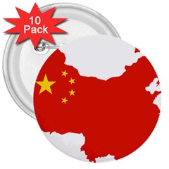 Flag Map Of China 3  Buttons (10 Pack)  by abbeyz71