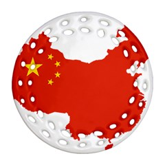 Flag Map Of China Ornament (round Filigree)  by abbeyz71