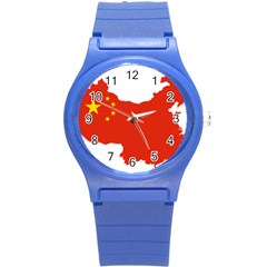 Flag Map Of China Round Plastic Sport Watch (s)