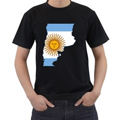 Flag Map Of Argentina Men s T-shirt (black)