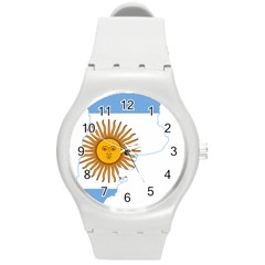 Flag Map Of Argentina Round Plastic Sport Watch (m)