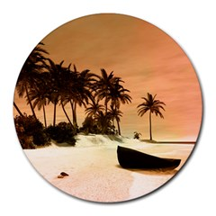 Wonderful Sunset Over The Beach, Tropcal Island Round Mousepads