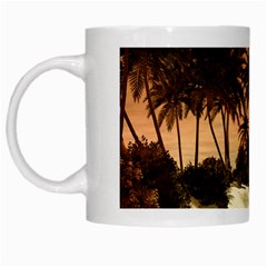 Wonderful Sunset Over The Beach, Tropcal Island White Mugs by FantasyWorld7