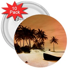 Wonderful Sunset Over The Beach, Tropcal Island 3  Buttons (10 Pack)  by FantasyWorld7
