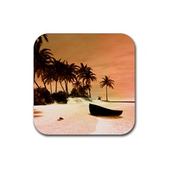 Wonderful Sunset Over The Beach, Tropcal Island Rubber Square Coaster (4 Pack)  by FantasyWorld7