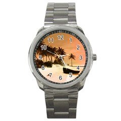 Wonderful Sunset Over The Beach, Tropcal Island Sport Metal Watch