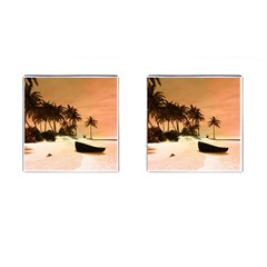Wonderful Sunset Over The Beach, Tropcal Island Cufflinks (square) by FantasyWorld7