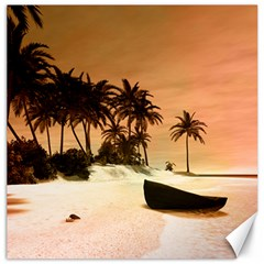Wonderful Sunset Over The Beach, Tropcal Island Canvas 12  X 12   by FantasyWorld7
