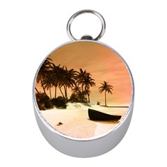 Wonderful Sunset Over The Beach, Tropcal Island Mini Silver Compasses by FantasyWorld7