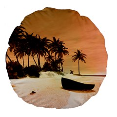 Wonderful Sunset Over The Beach, Tropcal Island Large 18  Premium Flano Round Cushions by FantasyWorld7