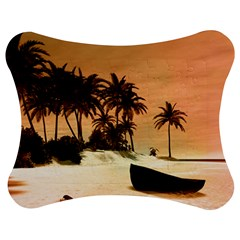 Wonderful Sunset Over The Beach, Tropcal Island Jigsaw Puzzle Photo Stand (bow) by FantasyWorld7