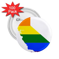 Lgbt Flag Map Of California 2 25  Buttons (100 Pack)  by abbeyz71