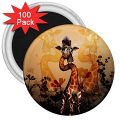 Funny, Cute Giraffe With Sunglasses And Flowers 3  Magnets (100 Pack) by FantasyWorld7