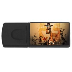 Funny, Cute Giraffe With Sunglasses And Flowers Usb Flash Drive Rectangular (4 Gb)  by FantasyWorld7