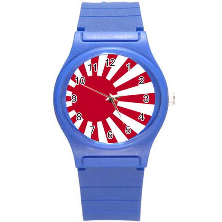 Ensign Of The Imperial Japanese Navy And The Japan Maritime Self Defense Force Round Plastic Sport Watch (S)