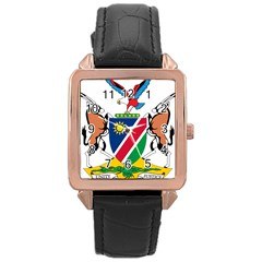 Coat Of Arms Of Namibia Rose Gold Leather Watch  by abbeyz71
