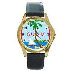 Seal Of Guam Round Gold Metal Watch by abbeyz71
