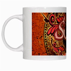Surfing, Surfboard With Floral Elements  And Grunge In Red, Black Colors White Mugs by FantasyWorld7