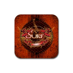 Surfing, Surfboard With Floral Elements  And Grunge In Red, Black Colors Rubber Square Coaster (4 Pack)  by FantasyWorld7