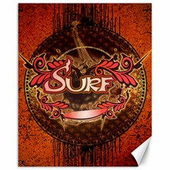 Surfing, Surfboard With Floral Elements  And Grunge In Red, Black Colors Canvas 16  X 20   by FantasyWorld7