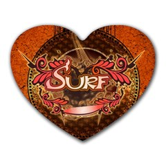 Surfing, Surfboard With Floral Elements  And Grunge In Red, Black Colors Heart Mousepads by FantasyWorld7