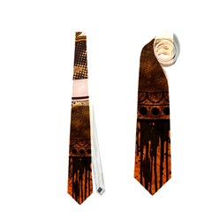 Surfing, Surfboard With Floral Elements  And Grunge In Red, Black Colors Neckties (two Side)  by FantasyWorld7