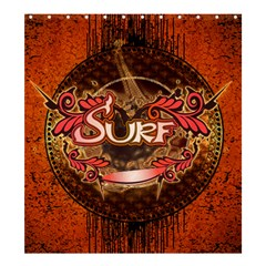 Surfing, Surfboard With Floral Elements  And Grunge In Red, Black Colors Shower Curtain 66  X 72  (large)  by FantasyWorld7