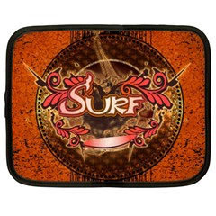 Surfing, Surfboard With Floral Elements  And Grunge In Red, Black Colors Netbook Case (xxl)  by FantasyWorld7