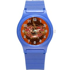 Surfing, Surfboard With Floral Elements  And Grunge In Red, Black Colors Round Plastic Sport Watch (s) by FantasyWorld7