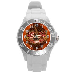 Surfing, Surfboard With Floral Elements  And Grunge In Red, Black Colors Round Plastic Sport Watch (l) by FantasyWorld7