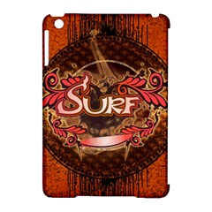 Surfing, Surfboard With Floral Elements  And Grunge In Red, Black Colors Apple Ipad Mini Hardshell Case (compatible With Smart Cover) by FantasyWorld7
