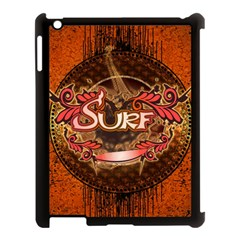 Surfing, Surfboard With Floral Elements  And Grunge In Red, Black Colors Apple Ipad 3/4 Case (black) by FantasyWorld7