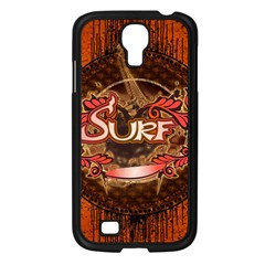 Surfing, Surfboard With Floral Elements  And Grunge In Red, Black Colors Samsung Galaxy S4 I9500/ I9505 Case (black) by FantasyWorld7