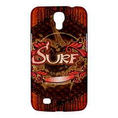 Surfing, Surfboard With Floral Elements  And Grunge In Red, Black Colors Samsung Galaxy Mega 6 3  I9200 Hardshell Case by FantasyWorld7