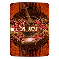 Surfing, Surfboard With Floral Elements  And Grunge In Red, Black Colors Samsung Galaxy Tab 3 (10 1 ) P5200 Hardshell Case  by FantasyWorld7