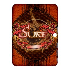 Surfing, Surfboard With Floral Elements  And Grunge In Red, Black Colors Samsung Galaxy Tab 4 (10 1 ) Hardshell Case  by FantasyWorld7