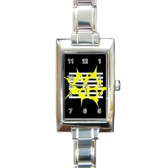 Yellow Abstraction Rectangle Italian Charm Watch by Valentinaart