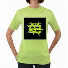 Yellow Abstraction Women s Green T Shirt by Valentinaart