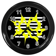Yellow Abstraction Wall Clocks (black) by Valentinaart
