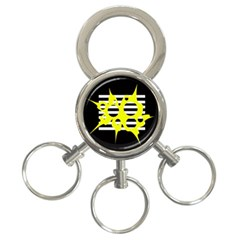 Yellow Abstraction 3 Ring Key Chains by Valentinaart