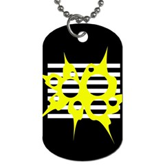 Yellow Abstraction Dog Tag (one Side) by Valentinaart