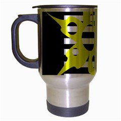 Yellow Abstraction Travel Mug (silver Gray) by Valentinaart